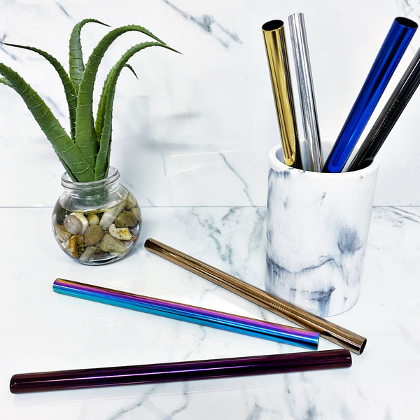 READY TO SHIP * Metal Straws (Boba and Slim), Cleaning Brush, and Velvet Bags