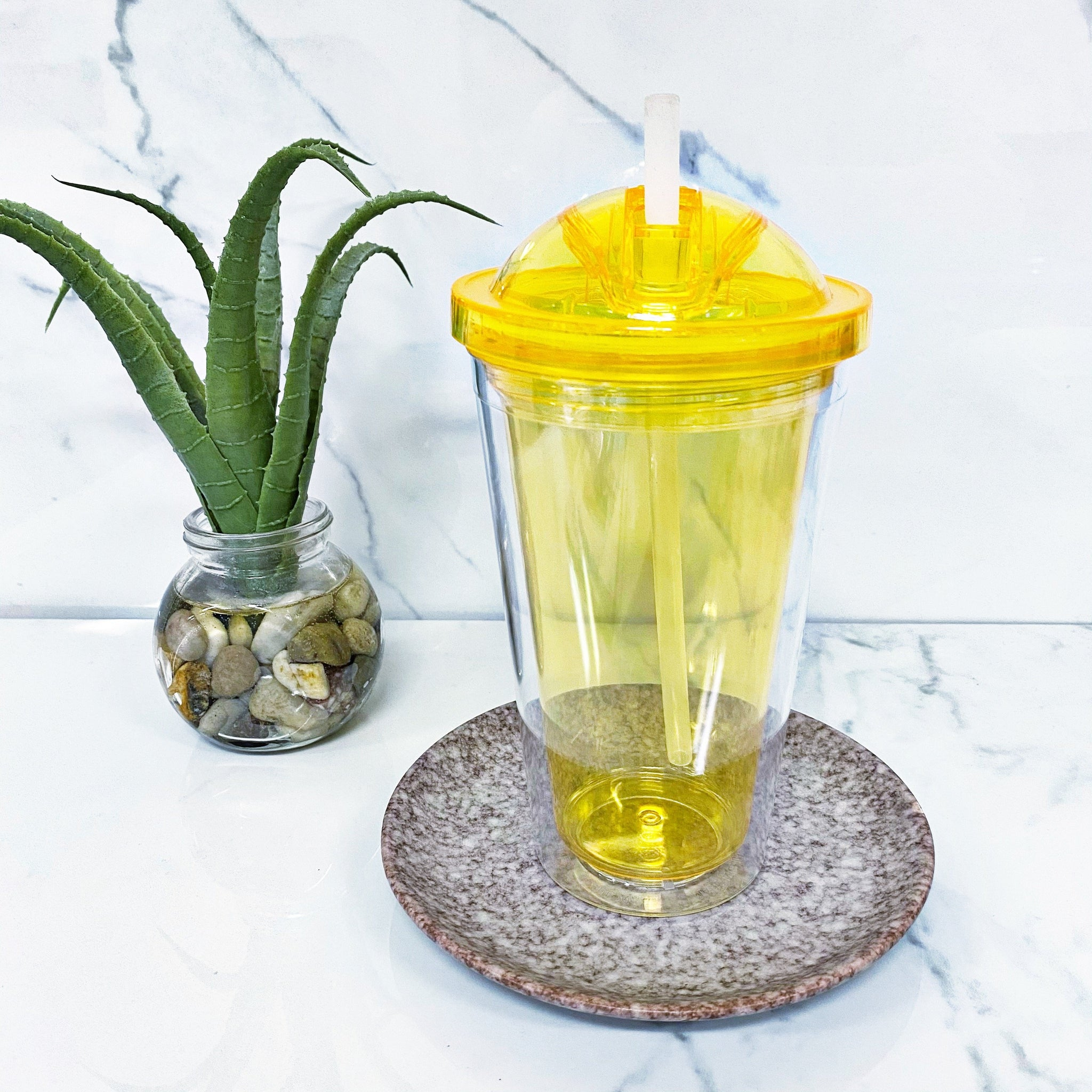 READY TO SHIP * Yellow Drink Cup and Straw