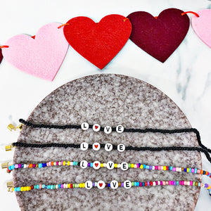 READY TO SHIP * Valentine's LOVE Beaded Glasses or Mask Holder Adjustable Cord