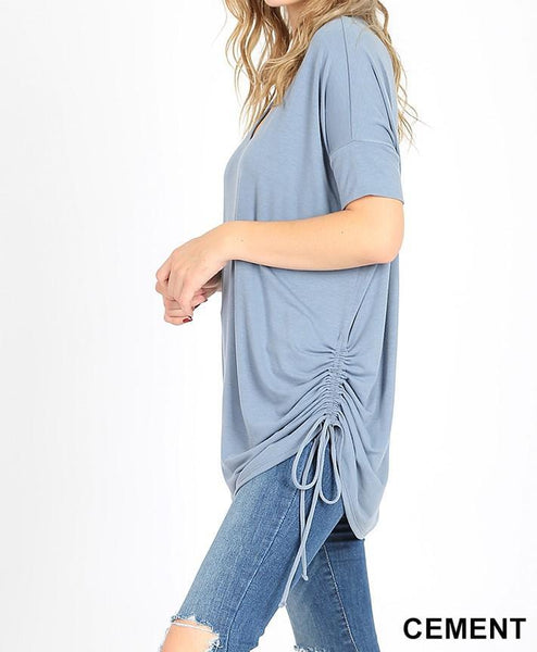 Plus Premium Short Sleeve V-Neck Ruched Top