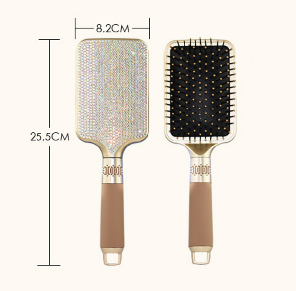 READY TO SHIP * Bling Detangling Rhinestone Crystal Brushes w Silicone Handle