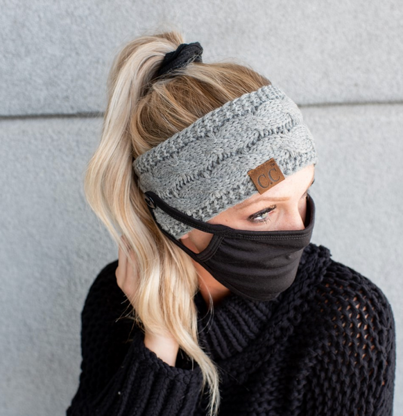 READY TO SHIP * CC Knitted Headband with Buttons for Masks