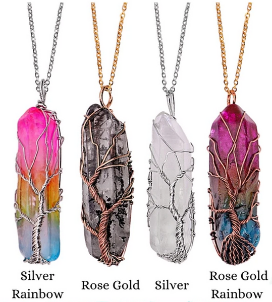 READY TO SHIP * Wrapped Stone Crystal Necklaces