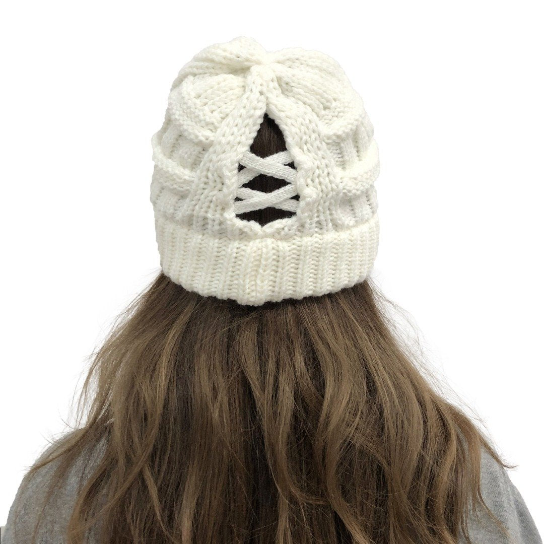 READY TO SHIP * Knitted Ponytail Lattice CC Beanies
