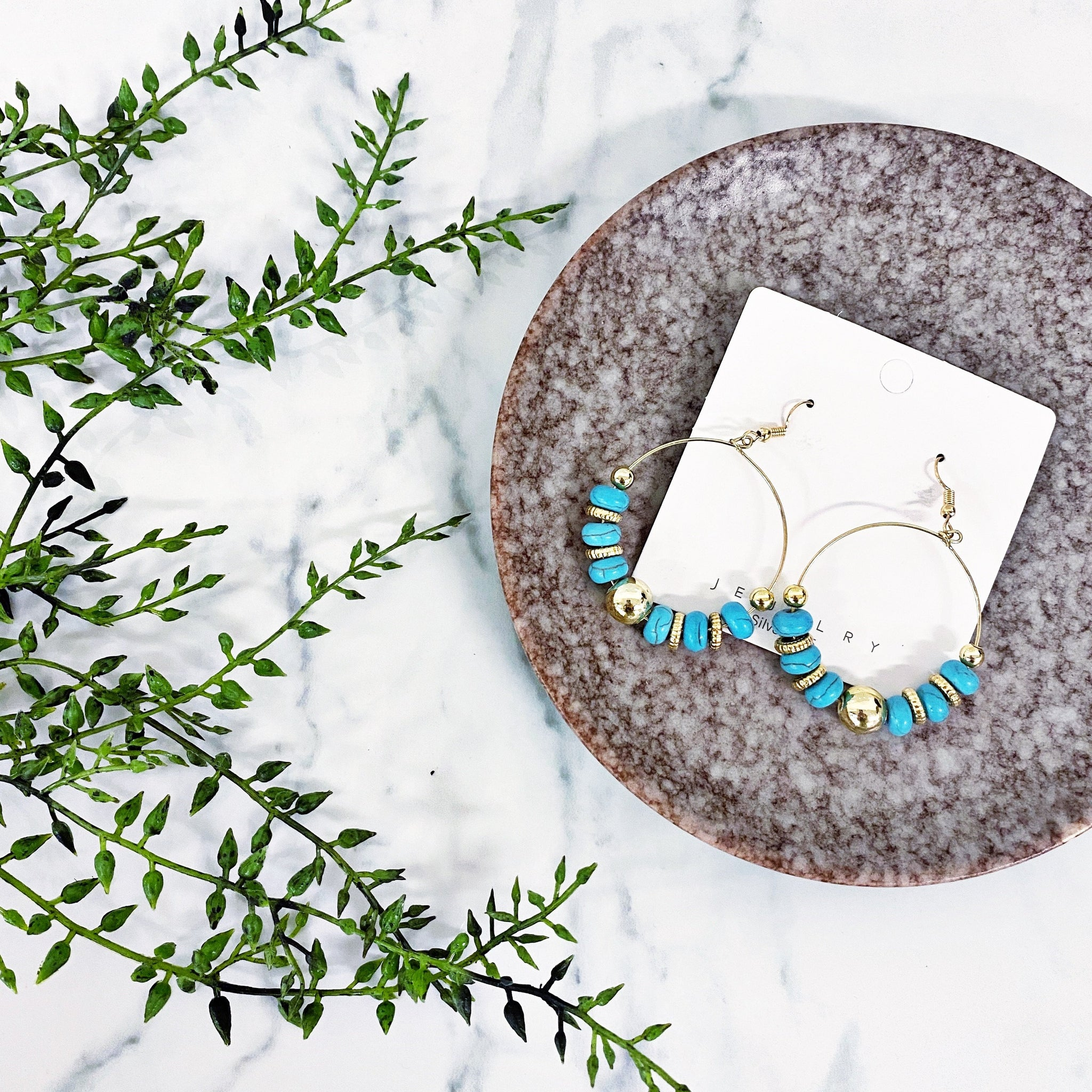 READY TO SHIP * Turquoise Hoop Earrings