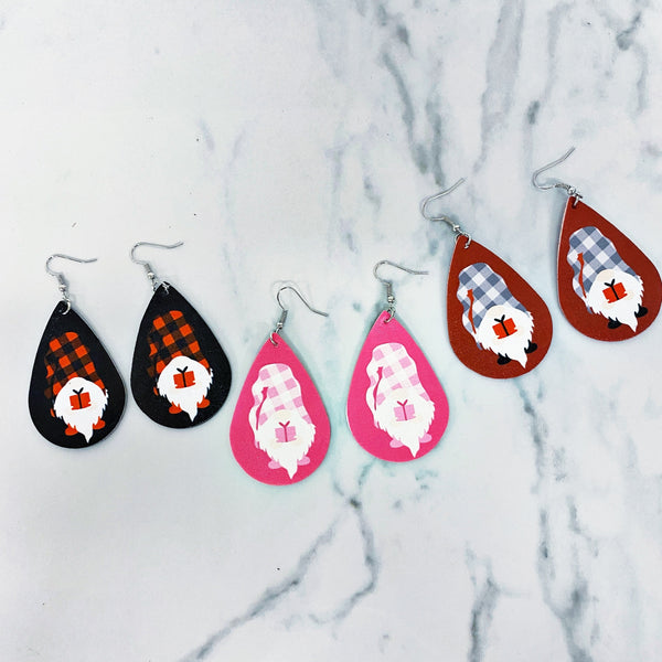 READY TO SHIP * Valentine's Gnome Double Sided Leather Earrings // Sets of 3
