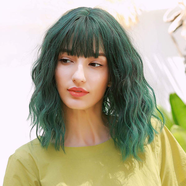 GXO BEAUTY 12 inches Green Short Wavy Wigs