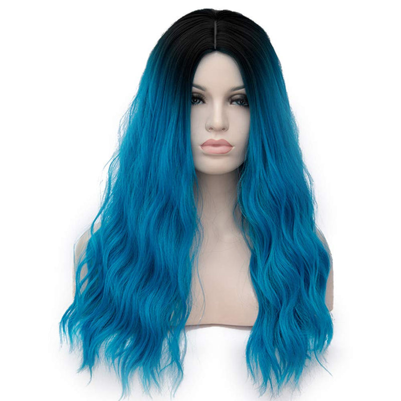 Women's Long Blue Wavy Wigs for Daily Party Cosplay