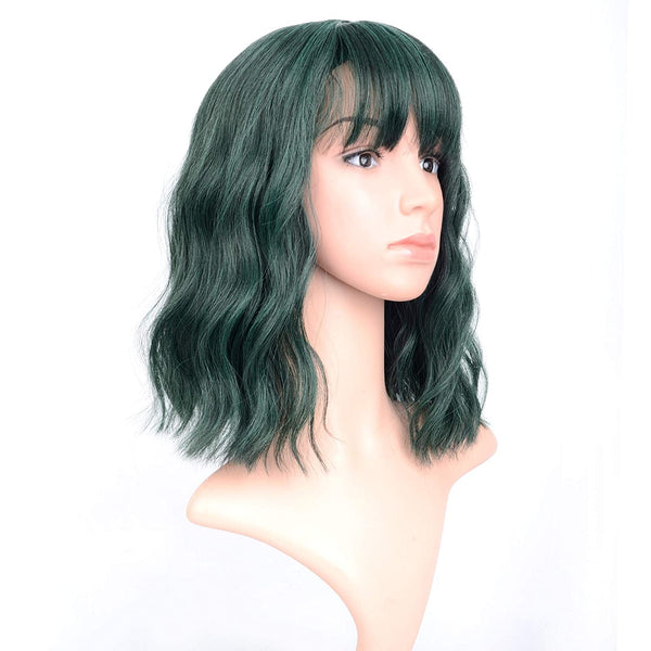 12 inches Green Short Wavy Wigs