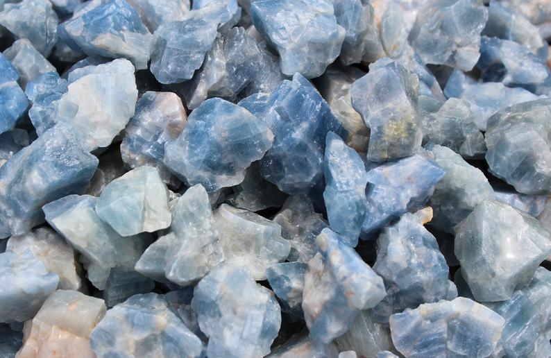 Rough Natural Blue Calcite Premium Grade Stones: Choose How Many Pieces (Raw Blue Calcite)
