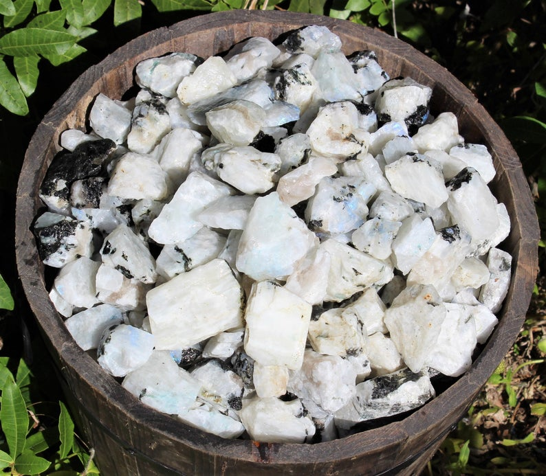 Raw Rainbow Moonstone Gemstone Crystals: Choose How Many Pieces (Rough Rainbow Moonstone)