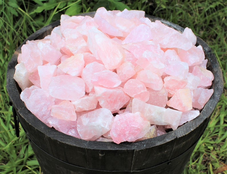 "LARGE Rose Quartz Raw Natural Stone, 2"" - 3"" (Rough Rose Quartz, Raw Rose Quartz, Love Stone, Healing Crystal, Chakra Crystal)"