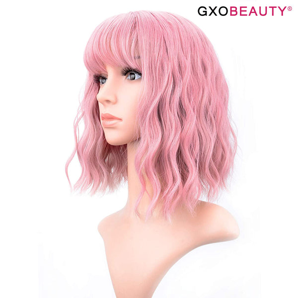 GXO BEAUTY 12 Inches Pink Synthetic Cosplay Wig
