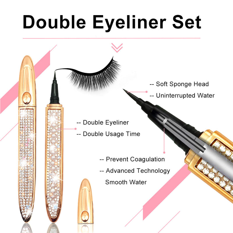 [ 7 Pairs ] No Magnetic Eyelashes with Eyeliner Kit, 3D Faux Mink Lashes With Natural Look & 2 Tubes of Light Glue Eye Liner and Free Tweezers Applicator, Reusable Eyelash for Women…