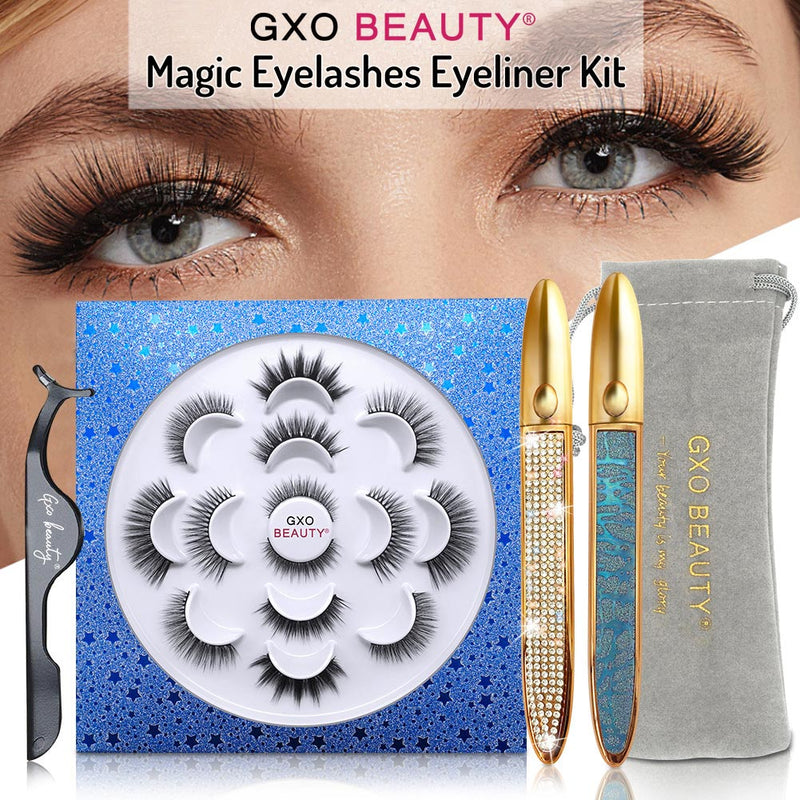 GXO Beauty magnetic lashes kit | With 2 waterproof glue Eyeliner pen | 7 PAIRS EYELINER KIT