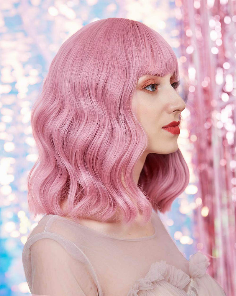 12 Inches Pink Synthetic Cosplay Wig