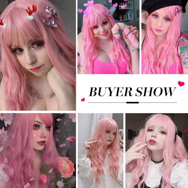 GXO BEAUTY Women's Long Pink Wig Wavy Synthetic Wigs