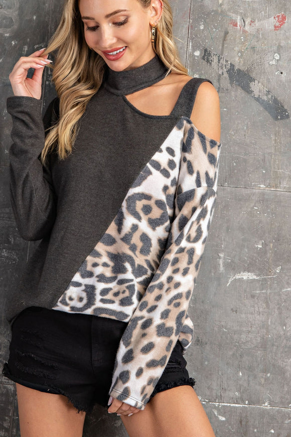 Charcoal+Taupe Leopard Strappy Cold Shoulder Top
