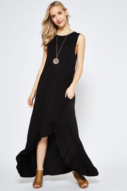 High/Low Black Tank Maxi Dress