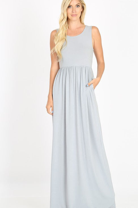 Sleeveless Maxi Dress | Light Grey