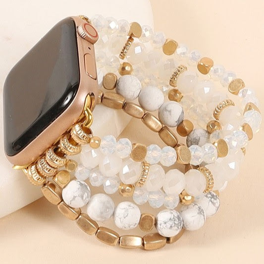 Beaded Watch Band | White+Gold | Various Sizes