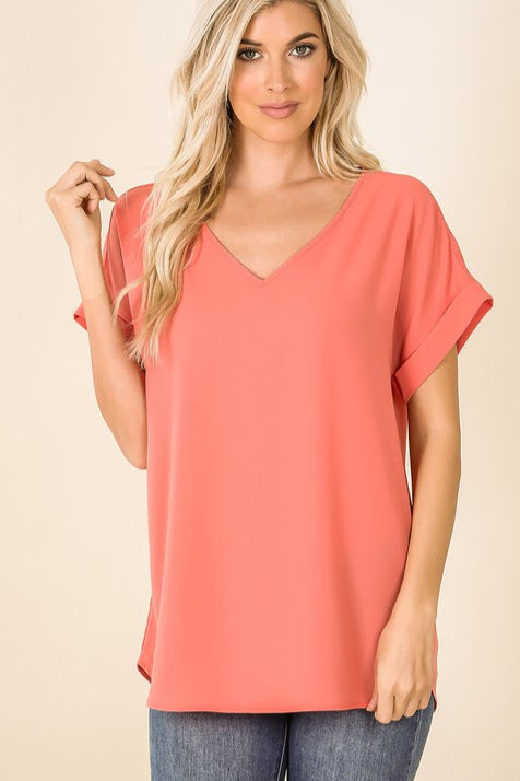 Woven Rolled Sleeve Top | Coral