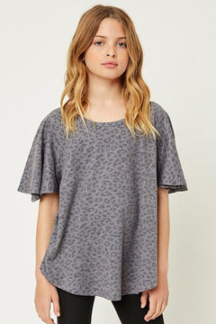 Stone Washed Leopard Top | Grey