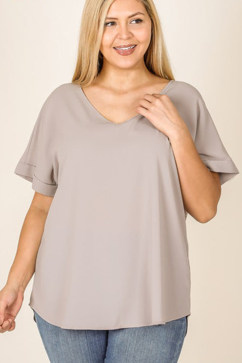 Woven Rolled Sleeve Top | Ash Mocha