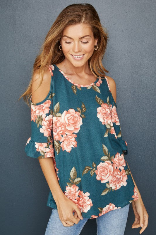 Teal Floral Cold Shoulder Top