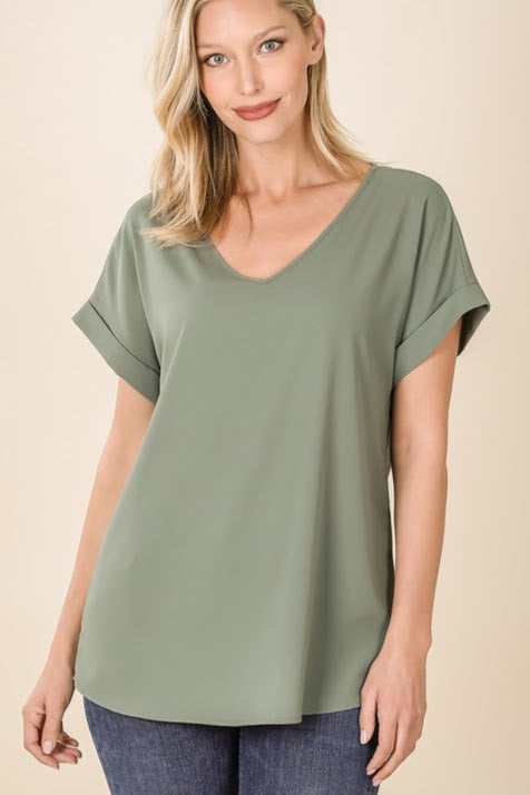 Woven Rolled Sleeve Top | Light Olive