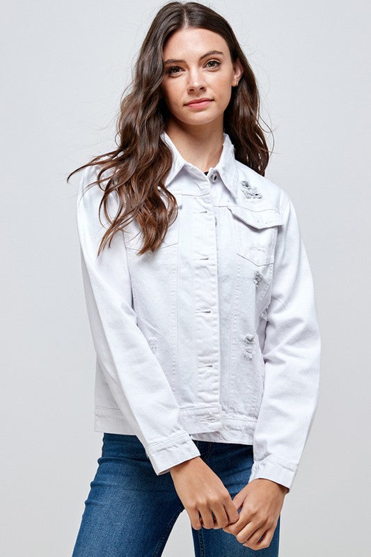 Distressed Denim Jacket | White