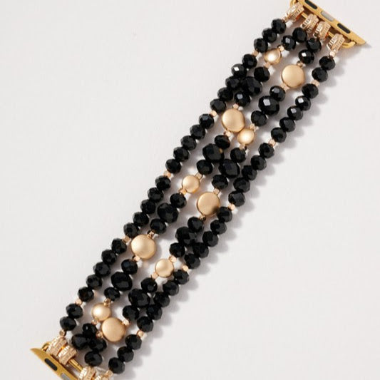 38/40mm Beaded Watch Band | Black+Gold