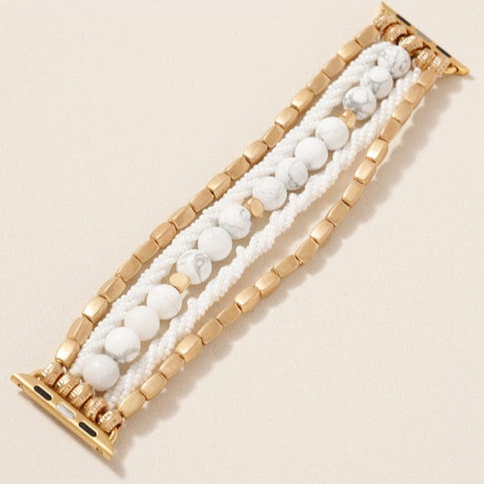 38/40mm Twist Seed Bead Watch Band | White+Gold