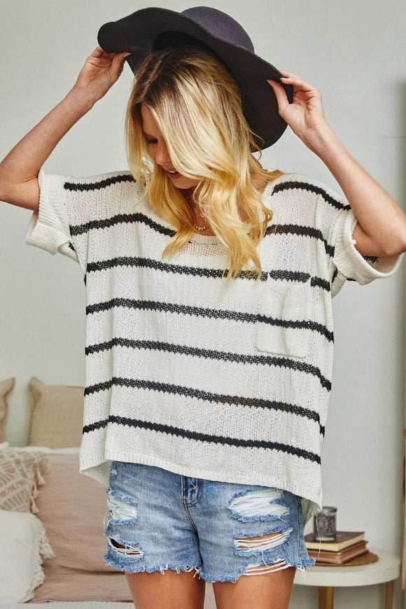 Ivory+Black Stripe Slouchy Top