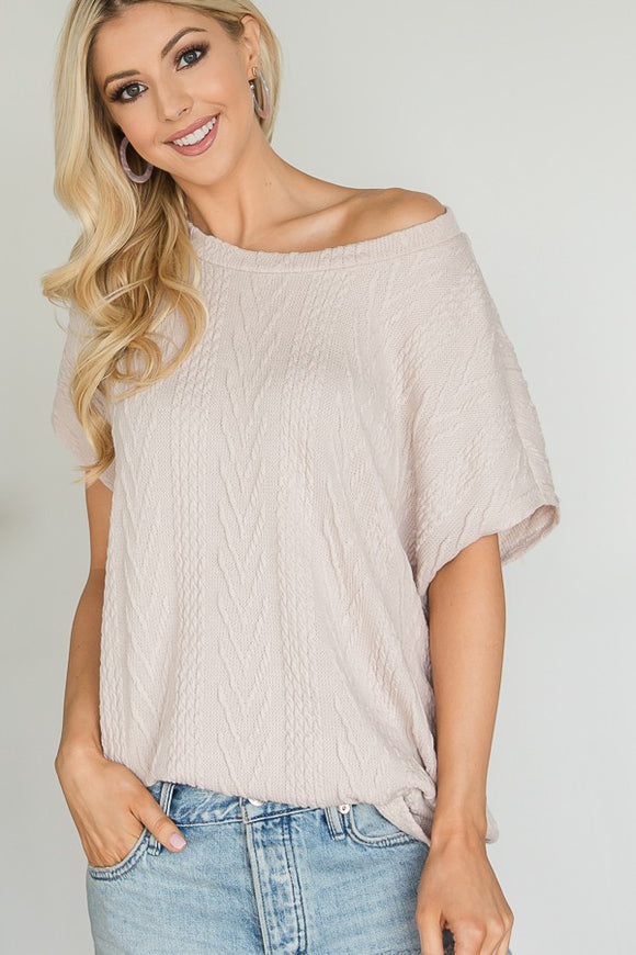Taupe Spring Knit Top