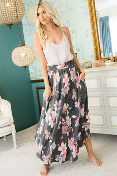 Maxi Jersey Skirt | Floral Charcoal
