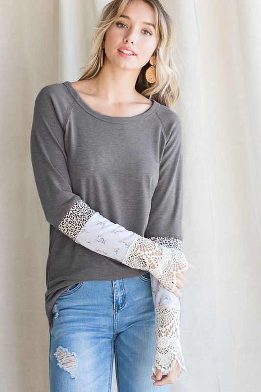 Charcoal Lace Sleeve Top