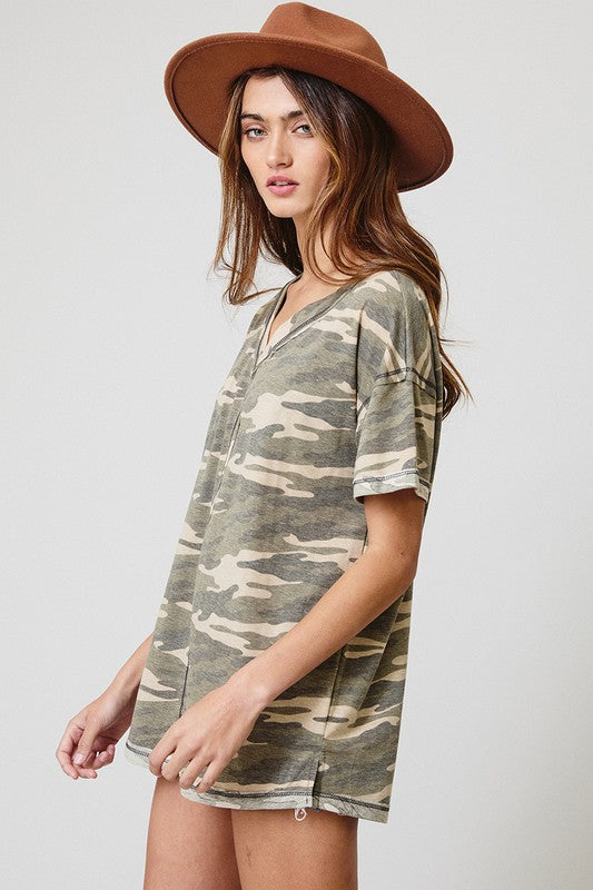 Raw Edge Olive Camo Top