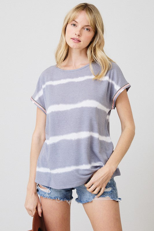 Grey Stripe Tie Dye Top