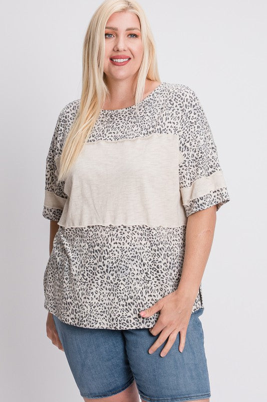 Grey Leopard Colorblock Top