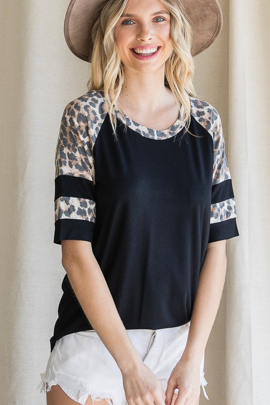 Black+Leopard Raglan Top