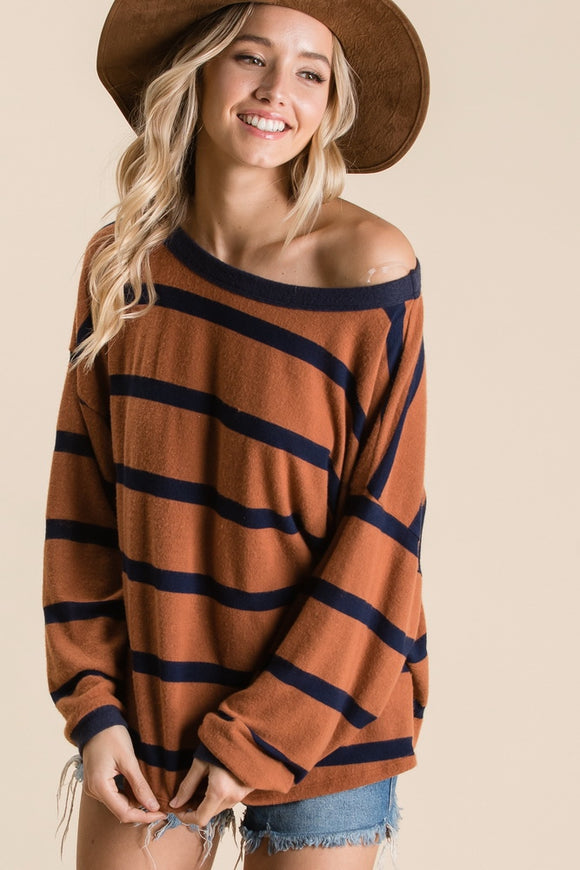 Brown+Navy Stripe Top