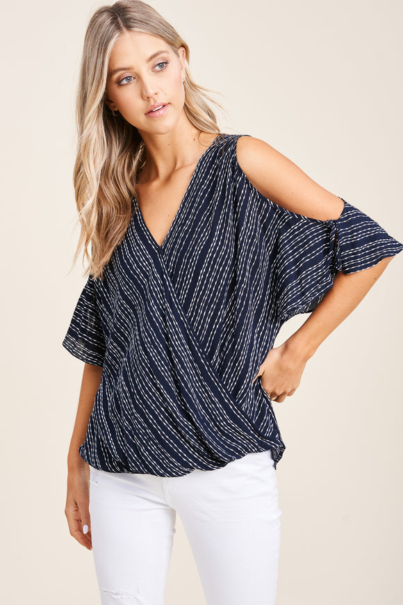 Navy Wrap Blouse