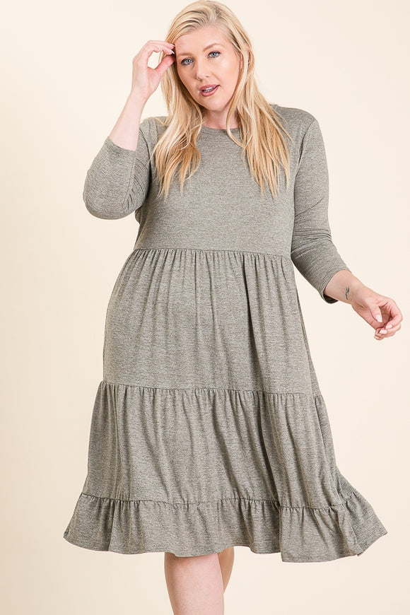 Tiered Olive Dress
