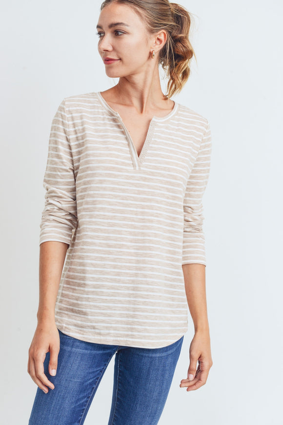 Casual Beige Striped Top
