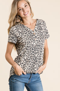 Leopard+Button Detail Top