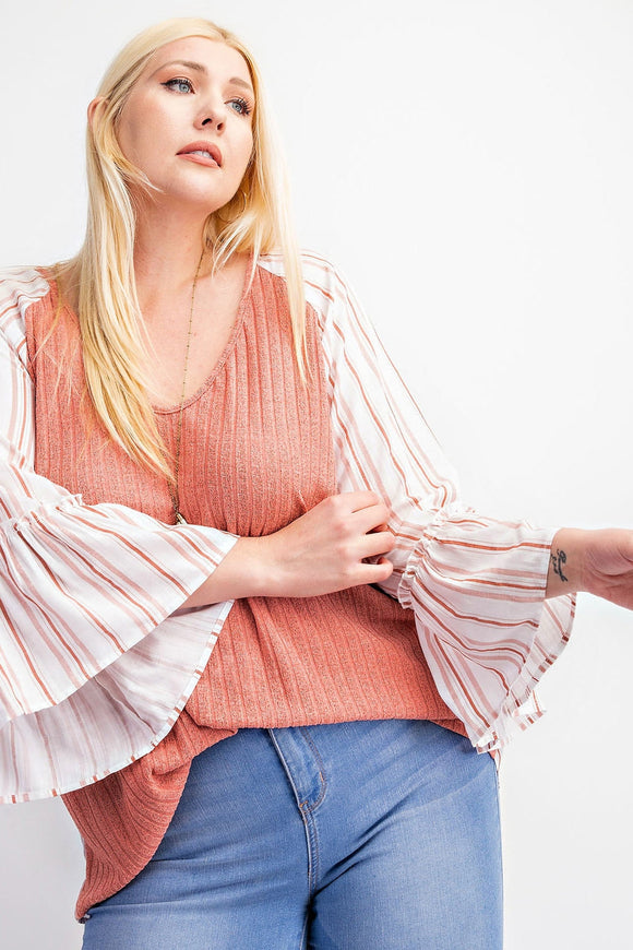 Coral Flowy Sleeve Top