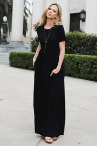 Black Short Sleeve Maxi Dress
