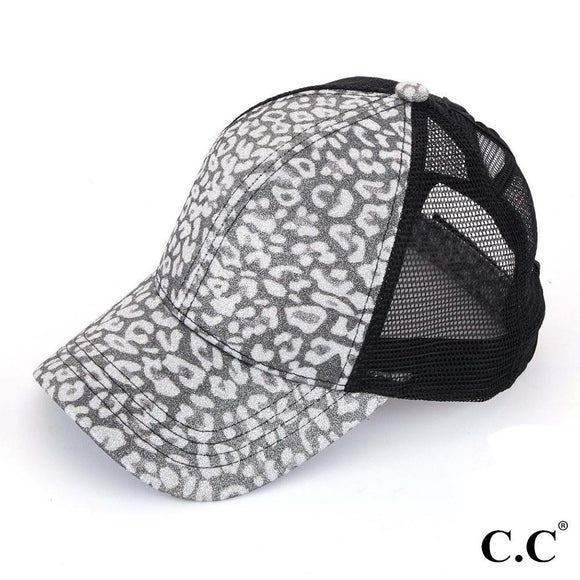 Silver Glitter Leopard Cap | Criss Cross High Ponytail | C.C Exclusive Brand