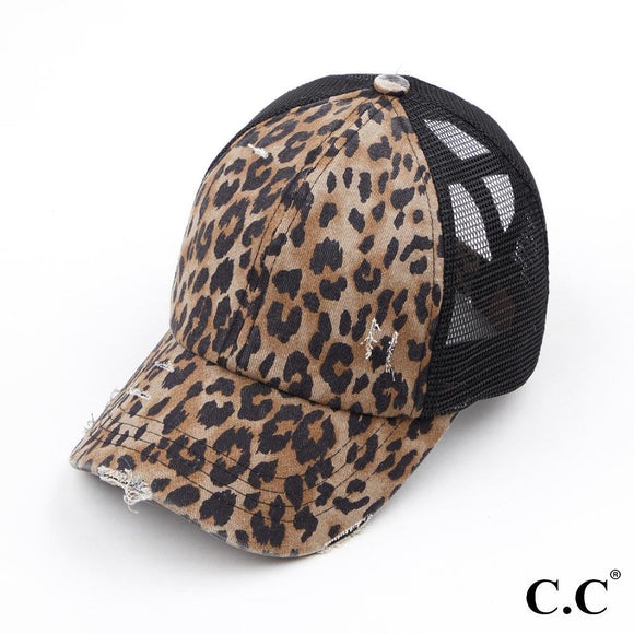 Greige Leopard Cap | Criss Cross High Ponytail | C.C Exclusive Brand